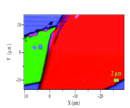 A Raman map of a graphene sample on a SiO2/Si substrate.