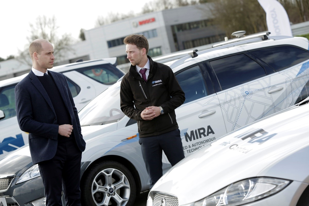 The Duke of Cambridge and HORIBA MIRA technical sales engineer Jon Maybin