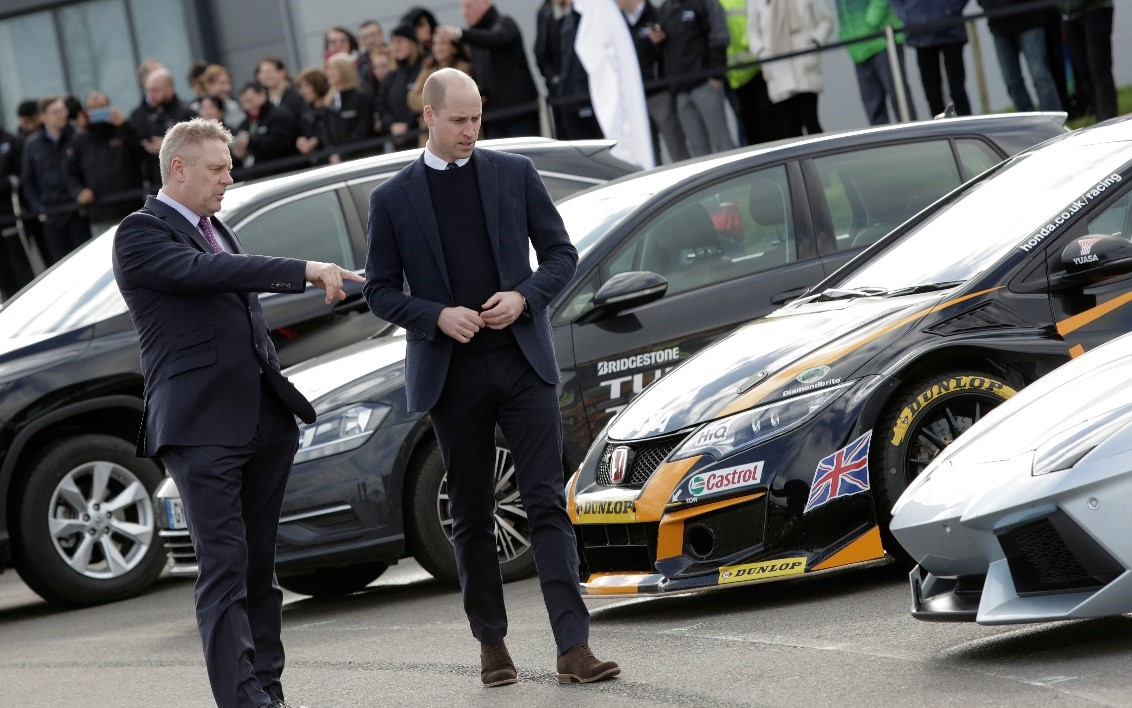 The Duke of Cambridge and Dr George Gillespie at HORIBA MIRA