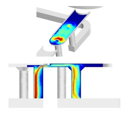 Flow simulation through a solenoid valve