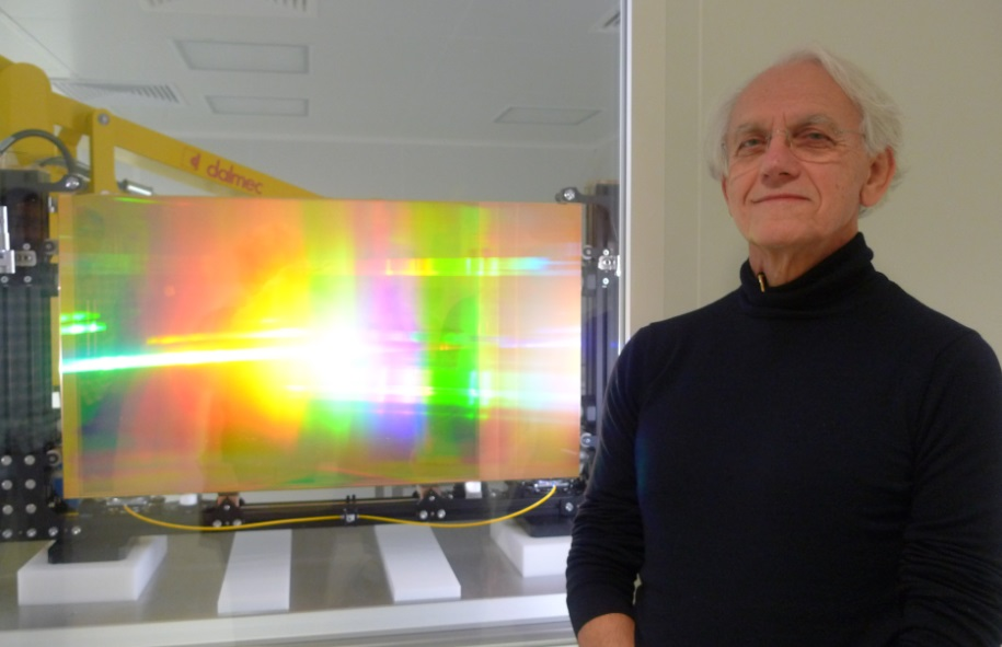 Prof. Gérard Mourou and one of his initial diffraction gratings