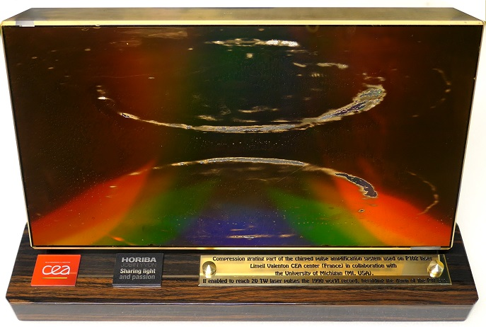 HORIBA Diffraction grating exhibited at the Nobel Museum