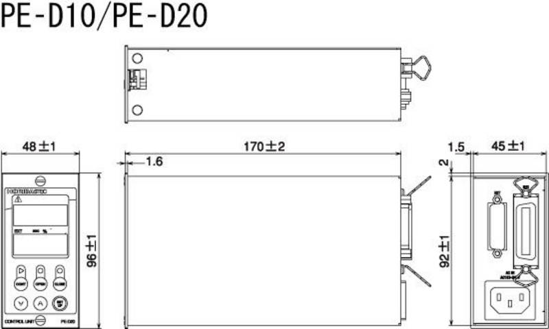 External Dimension of Control unit PE-D20