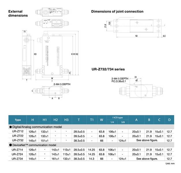 Dimension of Digital Automatic Pressure Regulator UR-Z700 series