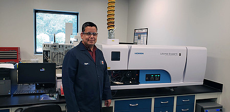 Rafael Vargas, Ph.D. in his Birla Carbon technology lab with a HORIBA Ultima Expert ICP-OES