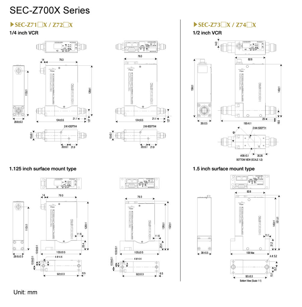Dimensions of SEC-Z700X Series
